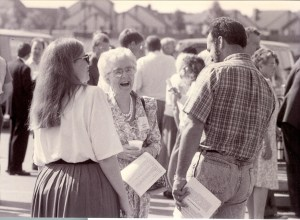 KAtie Funk Wiebe visits with friends at the General MB Convention 1993. MAID photo NP149-9-152