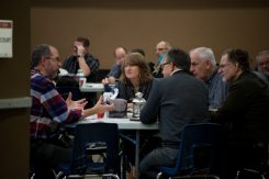 Table discussion groups at Bible study