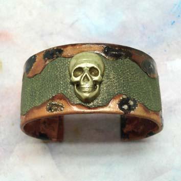 Bracelet -tête de mort- cuir