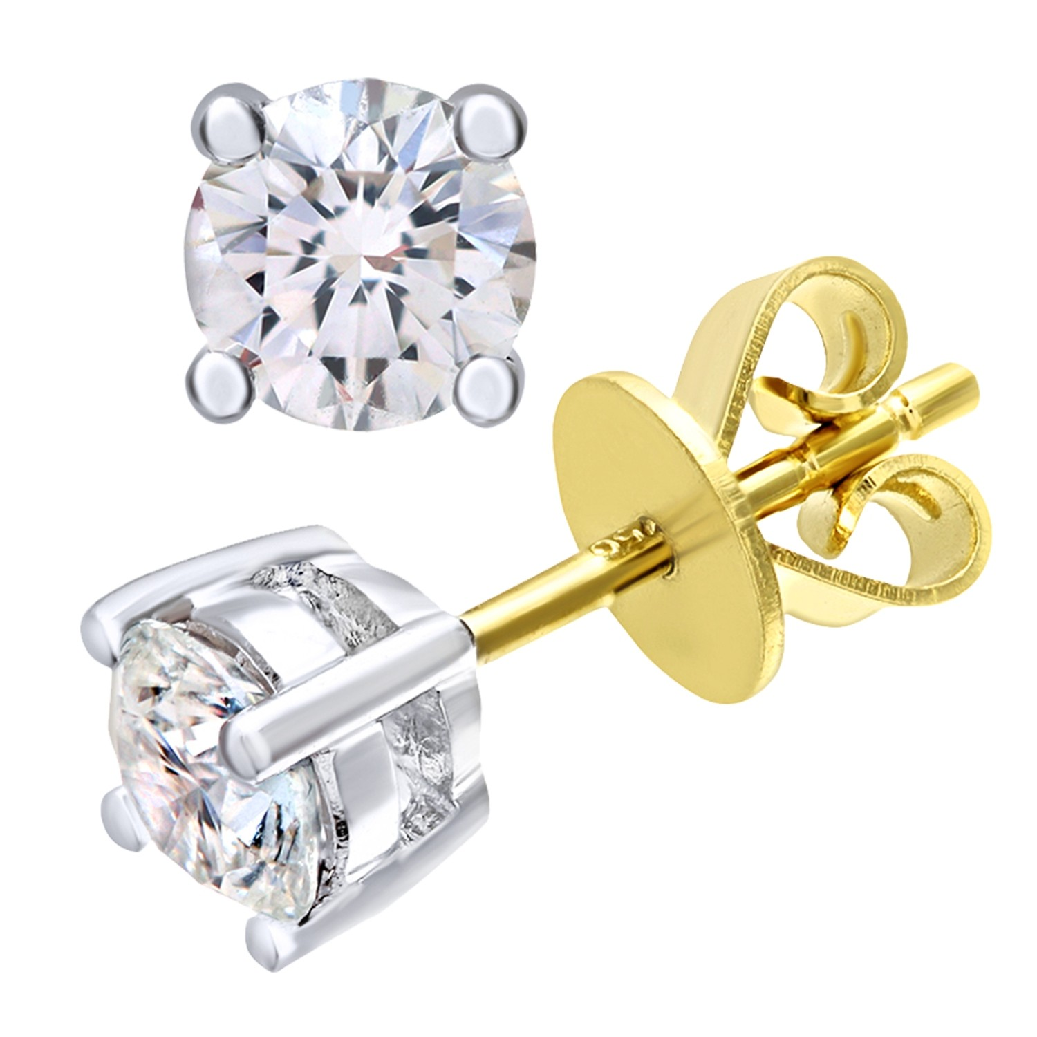 18CT YELLOW GOLD 0.75CT DIAMOND SOLITAIRE EARRINGS