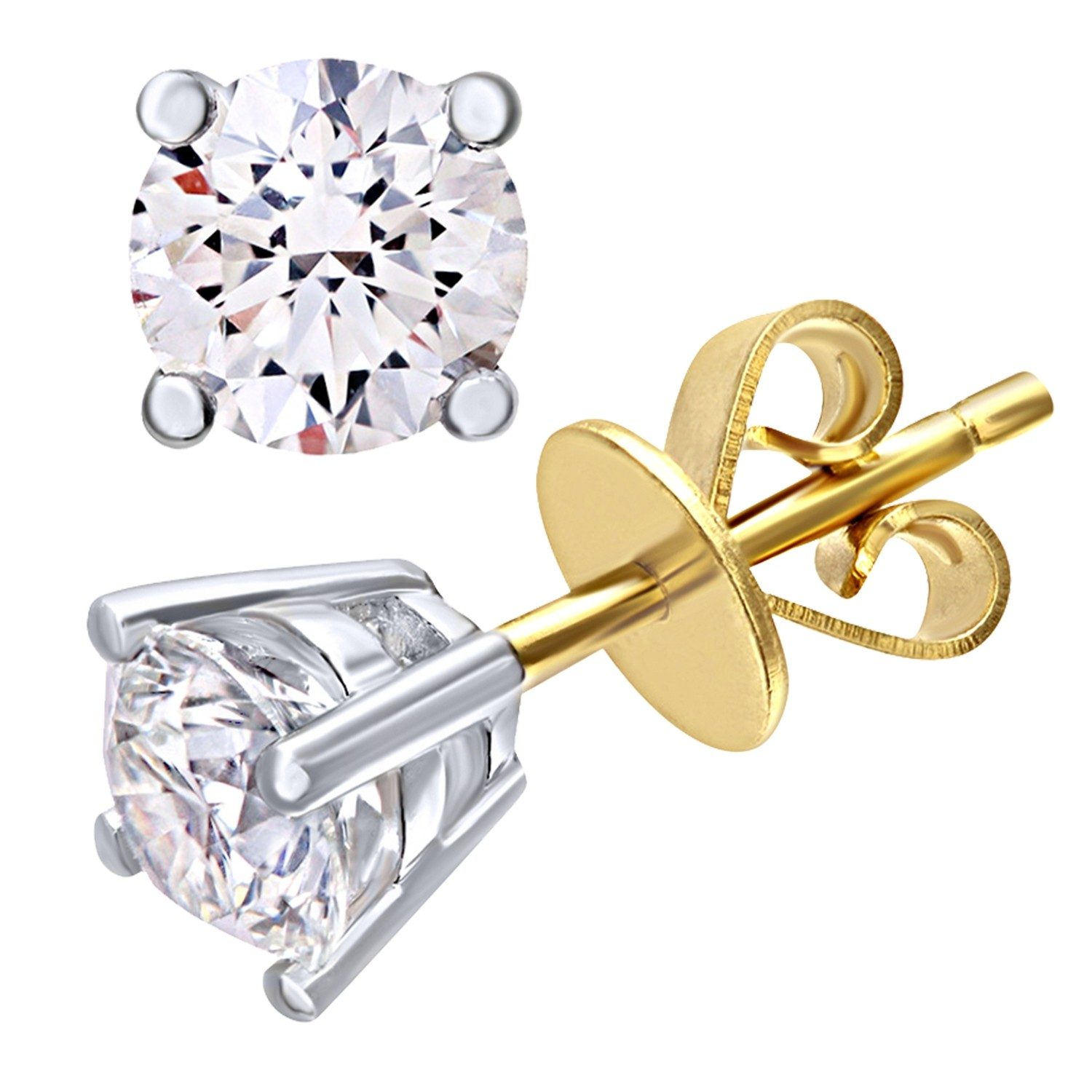 18CT YELLOW GOLD 1.00CT DIAMOND SOLITAIRE EARRINGS