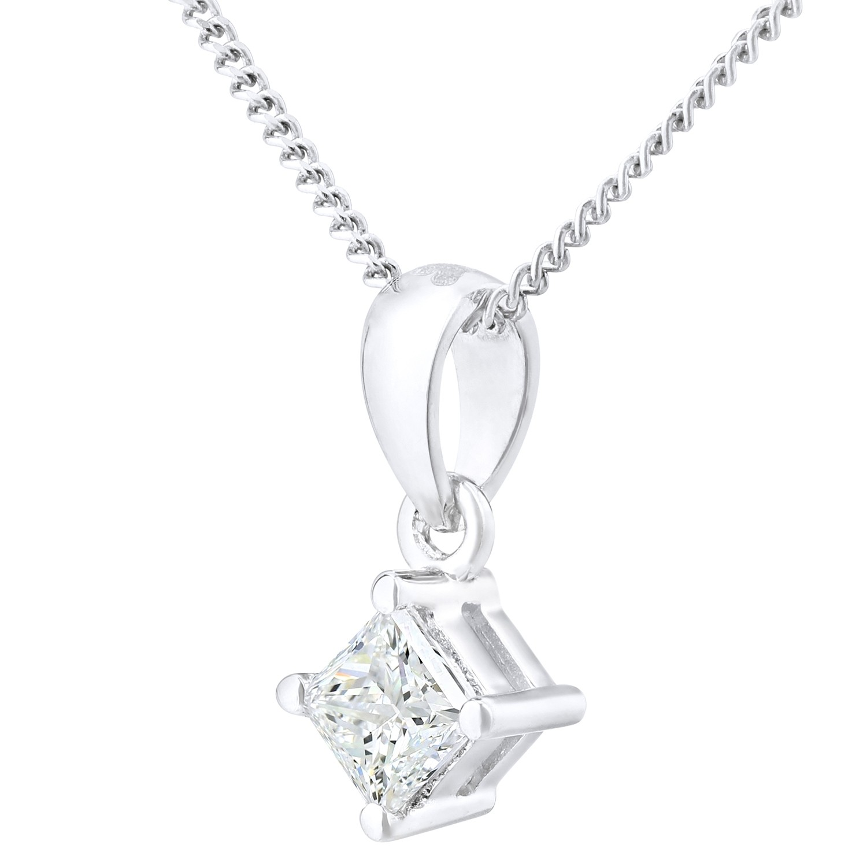 18CT WHITE GOLD 0.25CT DIAMOND PRINCESS CUT PENDANT