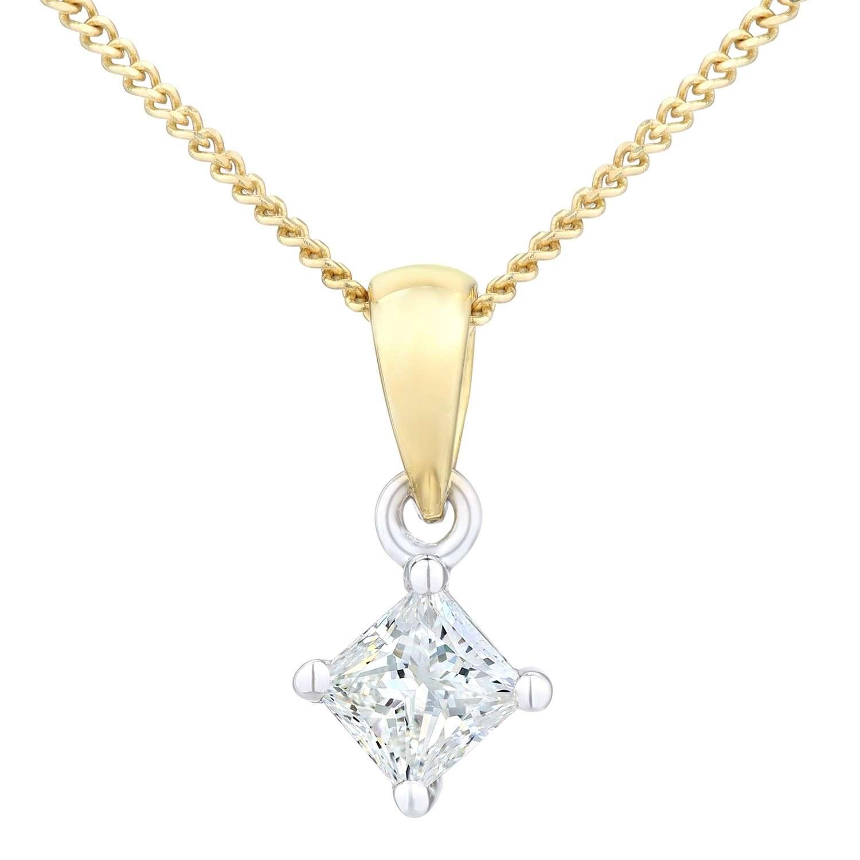 18CT YELLOW GOLD 0.25CT DIAMOND PRINCESS CUT PENDANT