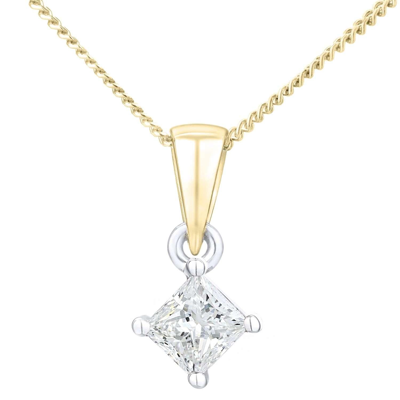 18CT YELLOW GOLD 0.33CT DIAMOND PRINCESS CUT PENDANT