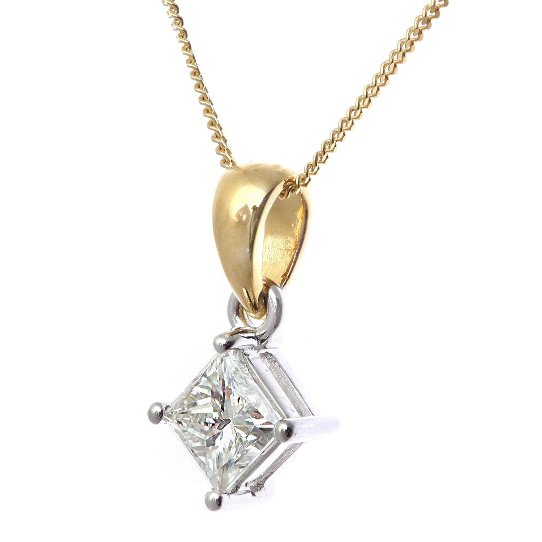 18CT YELLOW GOLD 0.75CT DIAMOND PRINCESS CUT PENDANT