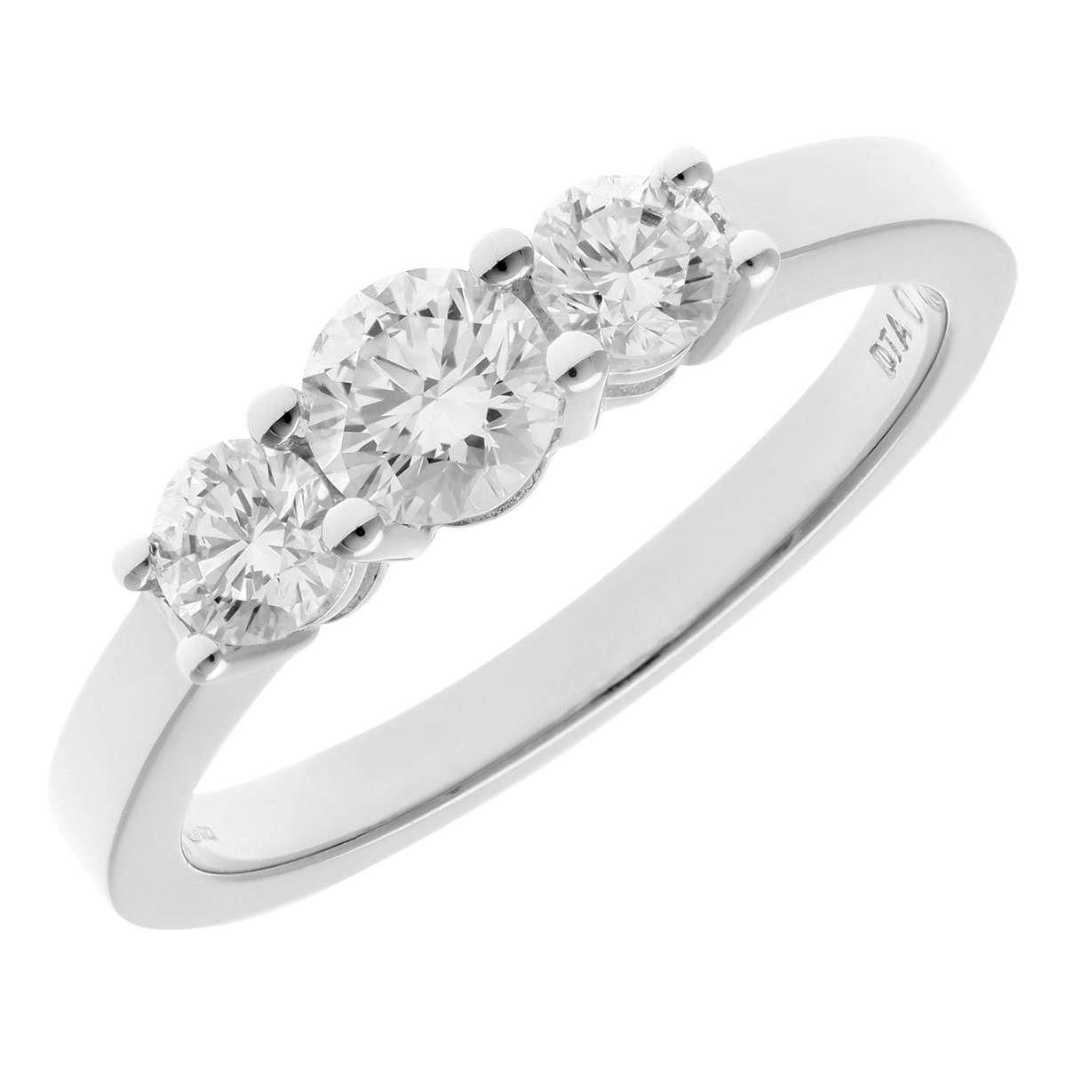 18CT WHITE GOLD 0.75CT DIAMOND 3 STONE RING