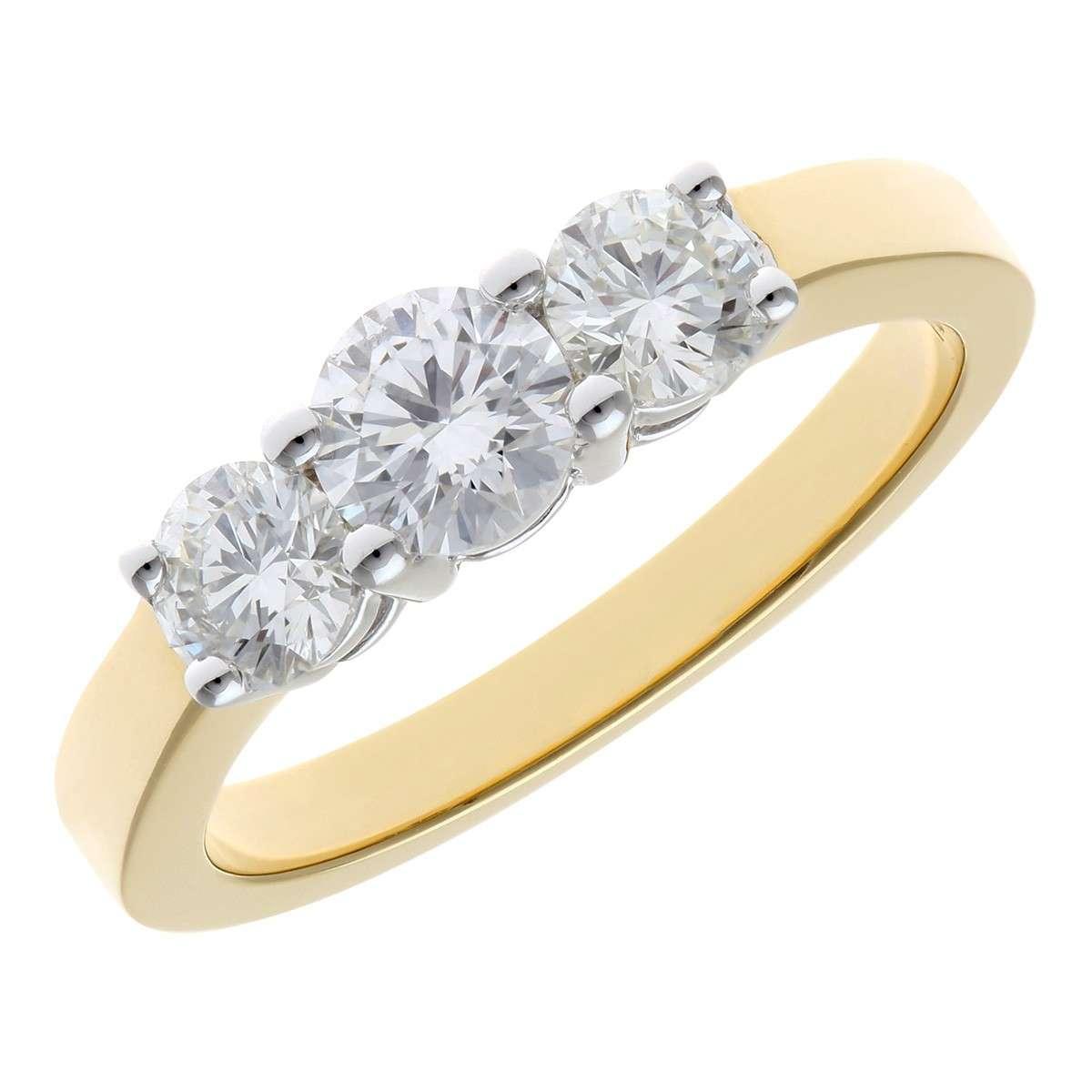 18CT YELLOW GOLD 1.00CT DIAMOND 3 STONE RING