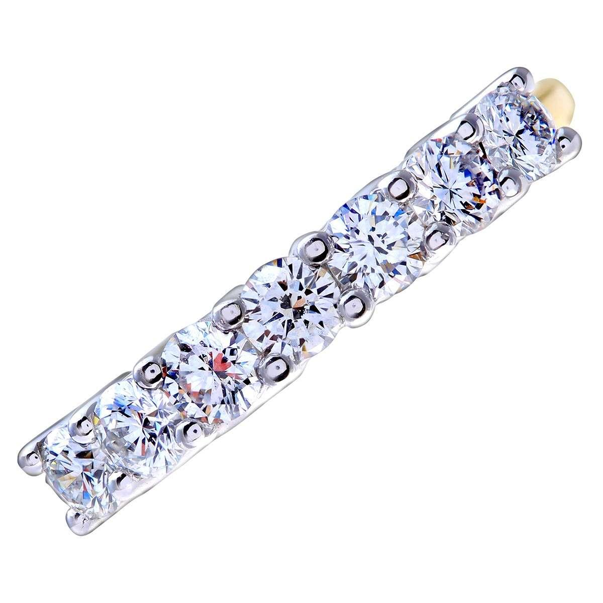 18CT YELLOW GOLD 0.75CT DIAMOND 7 STONE 1/2 ETERNITY RING