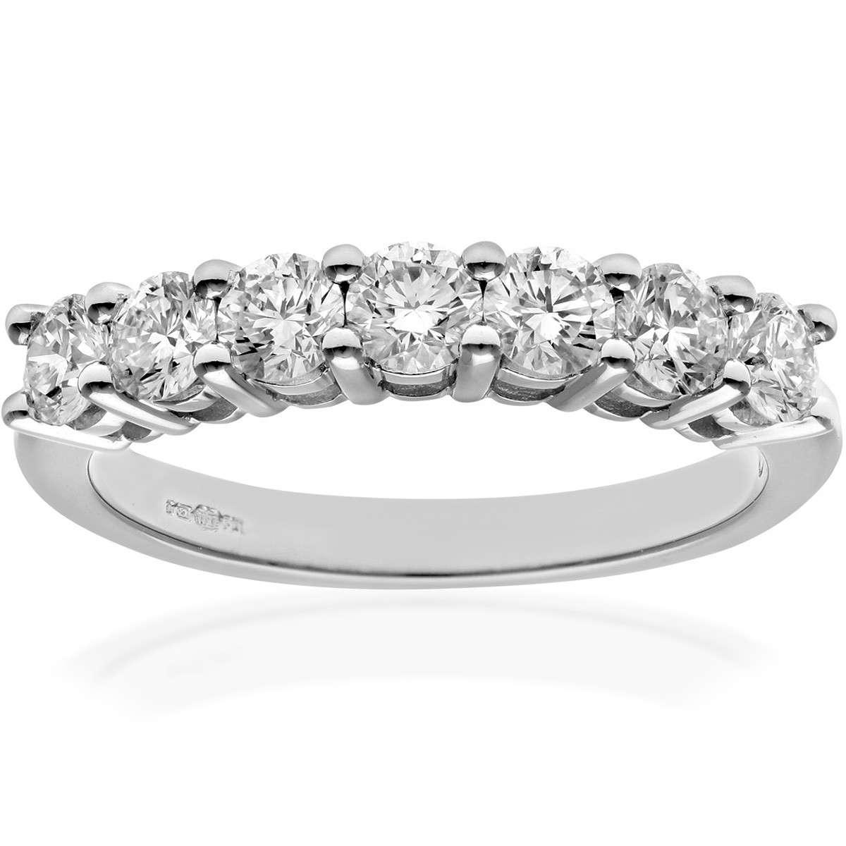 18CT WHITE GOLD 1.00CT DIAMOND 7 STONE 1/2 ETERNITY RING