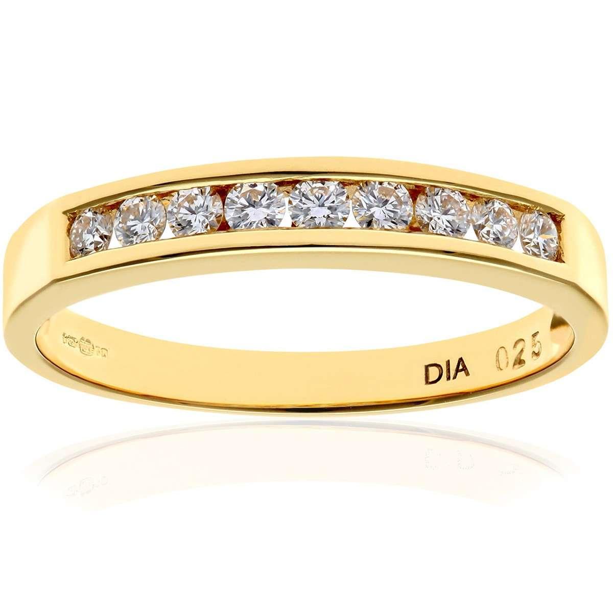 18CT YELLOW GOLD 0.25CT DIAMOND 9 STONE CHANNEL SET 1/2 ETERNITY RING