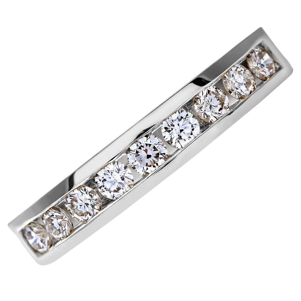 18CT WHITE GOLD 0.50CT DIAMOND 9 STONE CHANNEL SET 1/2 ETERNITY RING