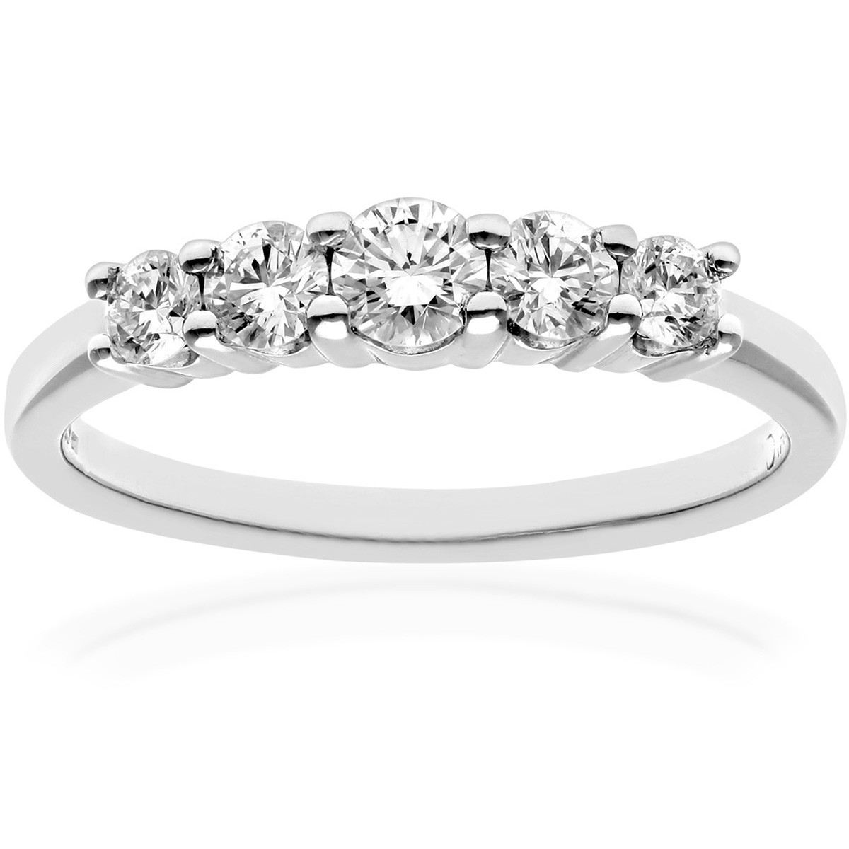 18CT WHITE GOLD 0.50CT DIAMOND 5 STONE GRADUATE  ETERNITY RING