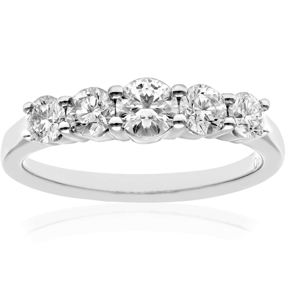 18CT WHITE GOLD 1.00CT DIAMOND 5 STONE GRADUATE ETERNITY RING