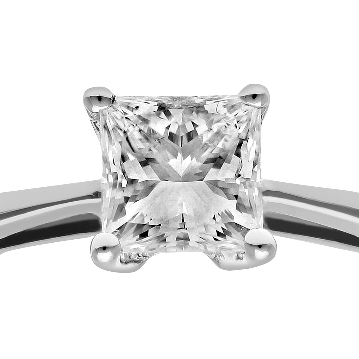 18CT WHITE GOLD 0.50CT DIAMOND PRINCESS CUT RING