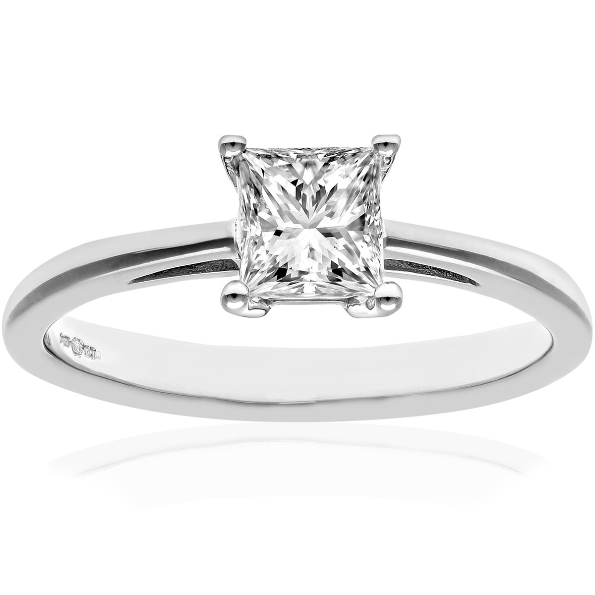 18CT WHITE GOLD 0.75CT DIAMOND PRINCESS CUT RING