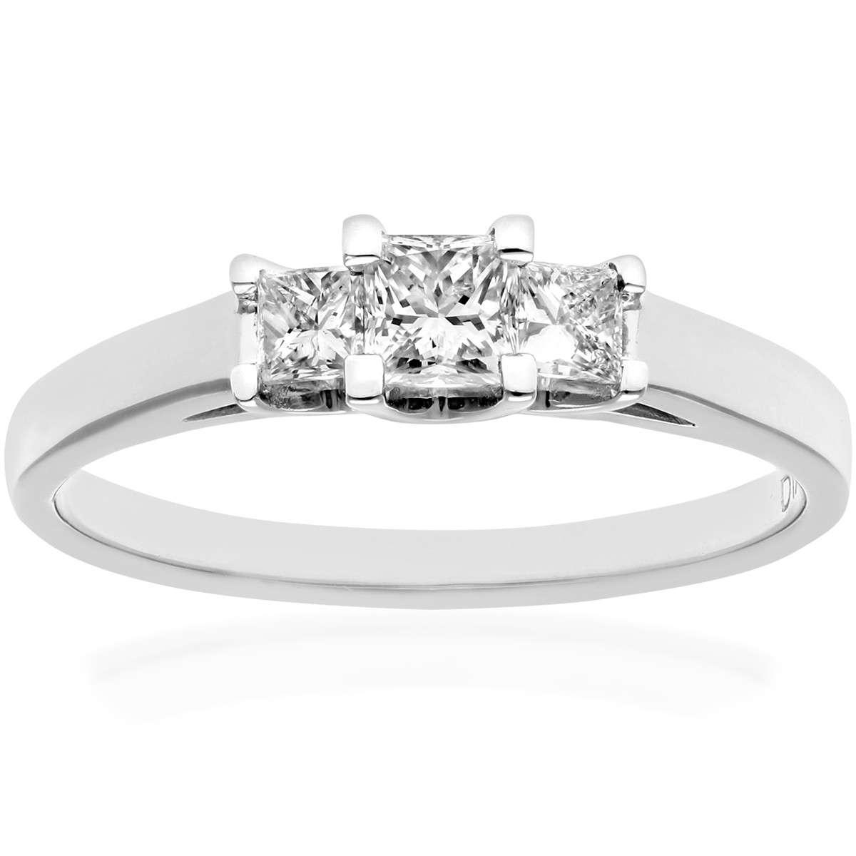 18CT WHITE GOLD 0.50CT DIAMOND PRINCESS CUT 3 STONE RING