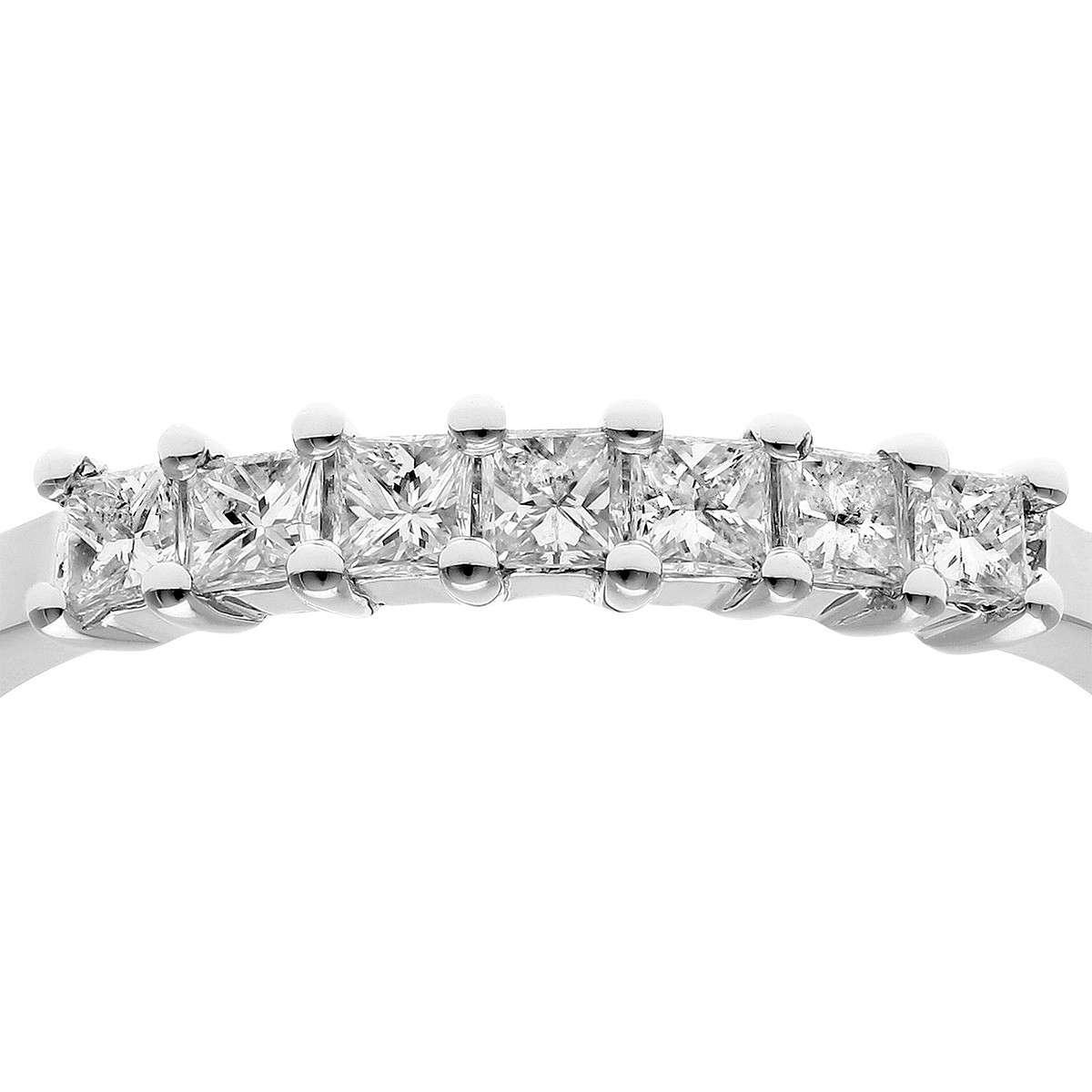 18CT WHITE GOLD 0.33CT DIAMOND PRINCESS CUT 7 STONE 1/2 ETERNITY RING