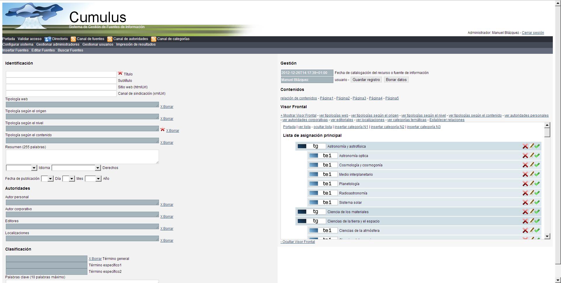 Pantalla de catalogación de fuentes de información