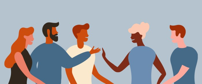 art of diverse workplace, with a man and woman about to slap five, demonstrating inclusion