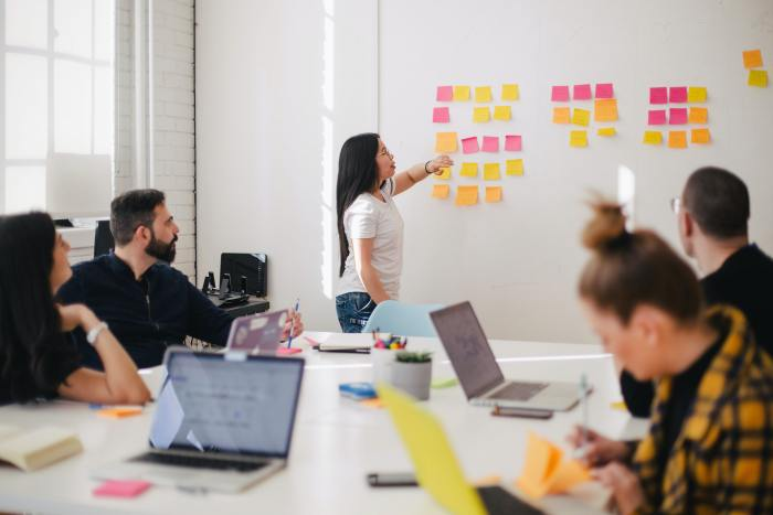 a woman demonstrates the skills of a strategic HR leader, giving a presentation with yellow, pink and orange sticky notes on a white board, with four co-workers looking on,