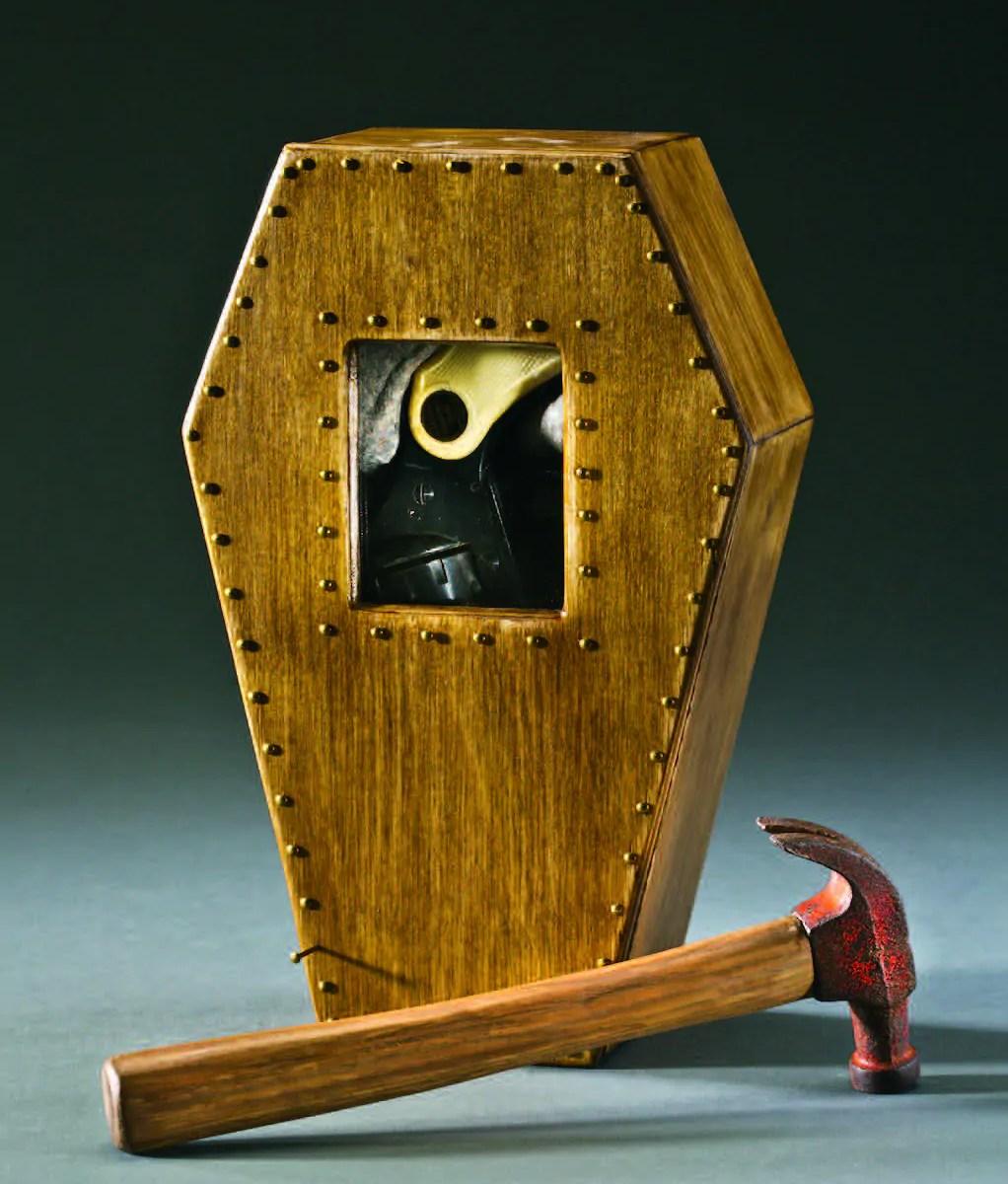 3D coffin shaped box and hammer  Angela Gleason