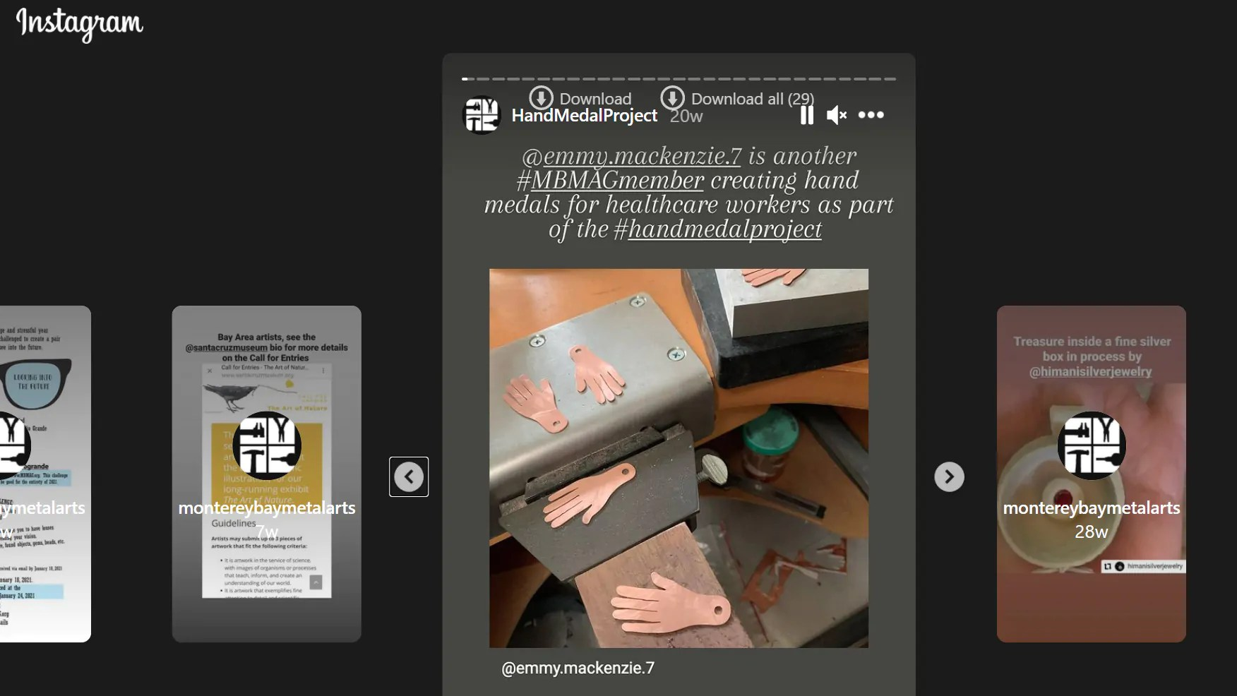 screenshot of instagram stories carousel