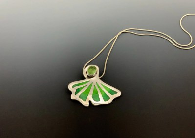 Green enamel pendant  Pat Accorinti