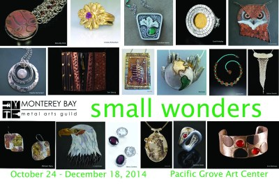 Postcard front with images of rings, pendants, necklaces, rings, bracelets, earrings, and sculpture for Small Wonders at the Pacific Grove Art Center in 2014