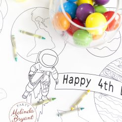 Space themed astronaut coloring table runner