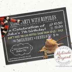 Customized reptile birthday party invitations