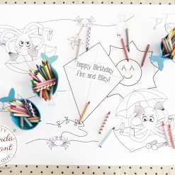 personalized beach party coloring table runner