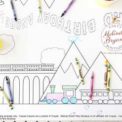 personalized train coloring table runner