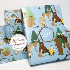personalized woodland animal wrapping paper