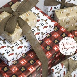 set of three custom woodland gift wraps