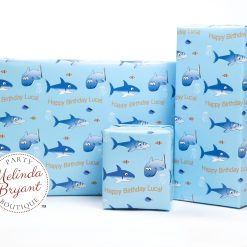 Personalized shark gift wrap