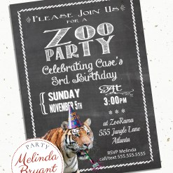 chalkboard style invitation featuring a tiger in a party hat