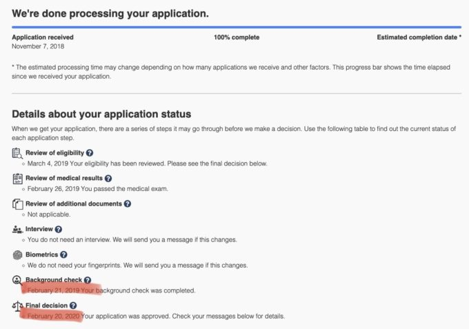 Application status and messages