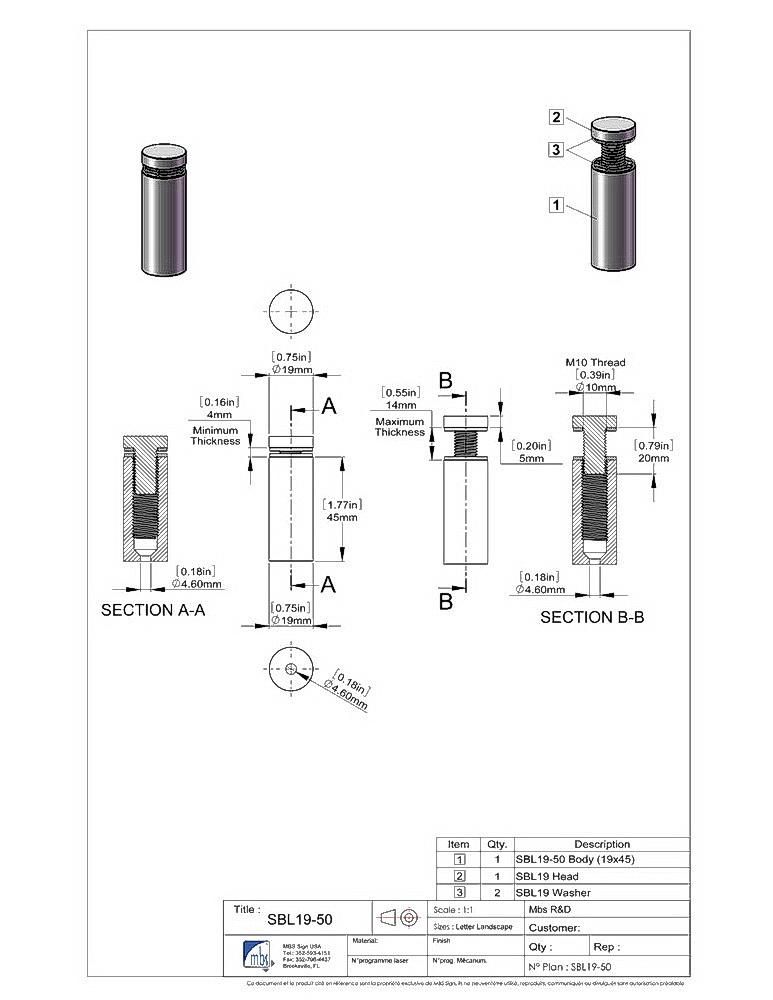 Stainless Steel Standoffs, Diameter: 3/4'', Standoff: 1 3