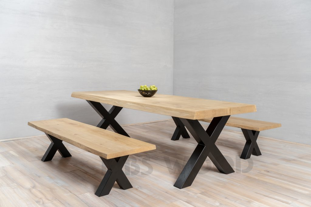 Oak Table Top MBS Wood with oak bench