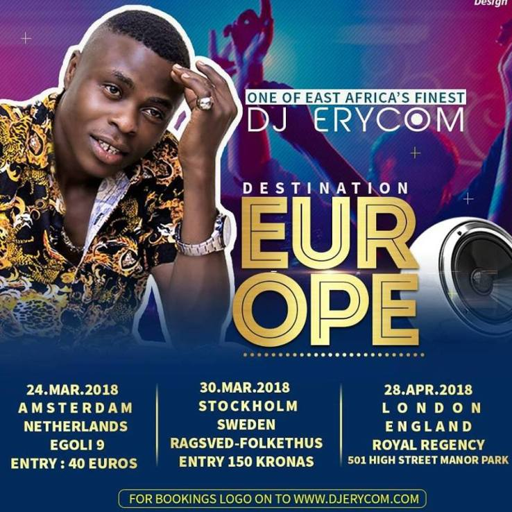 E Africa's Finest Dj Erycom Set For His European Tour 2018