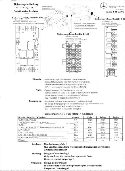 mercedes benz w203 fuse box