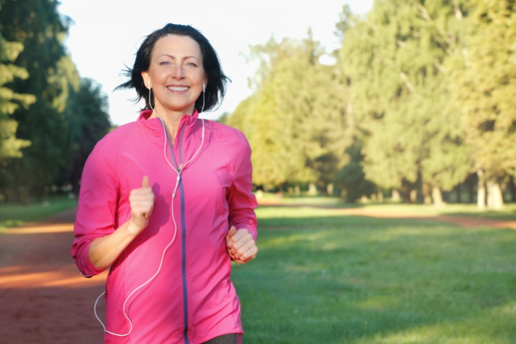 middle aged woman running