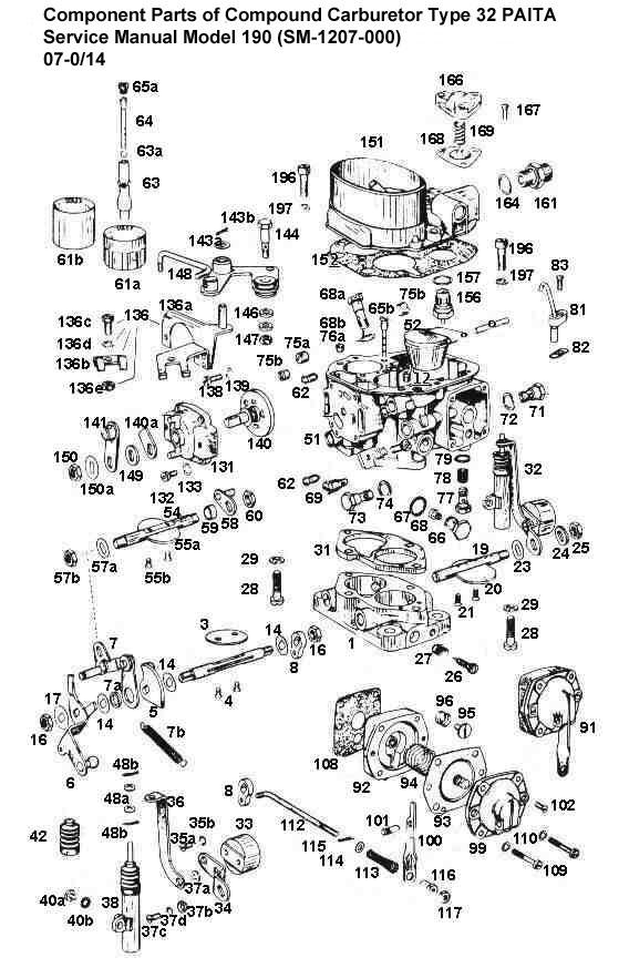 Solex Type 32 PAITA Carburetor Exploded Parts Diagram