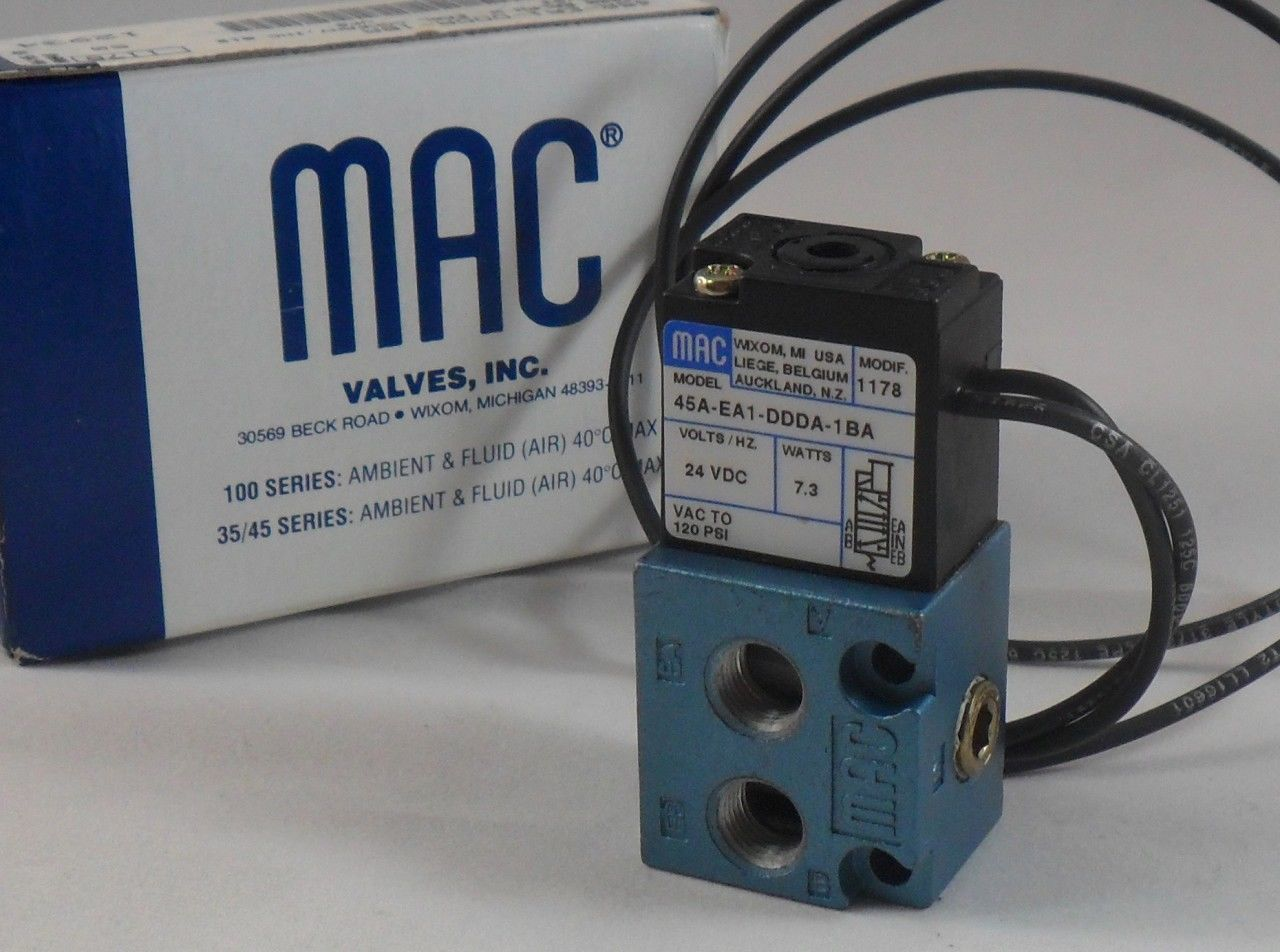 hight resolution of mac valves 45a ea1 ddda 1ba 24vdc 7 3 watts brand new n box 45aea1ddda18a mc sales llc