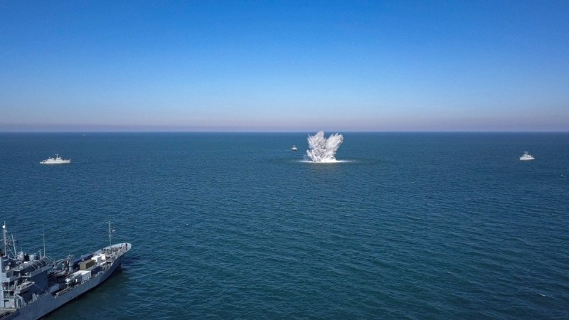 Historic ordnance from World War 2 is cleared by Standing NATO Mine Countermeasures Group One off the coast of Le Treport, France on 25 March, 2020. Photo credit: WO Marius Villanger (NOR Navy), SNMCMG1 PAO