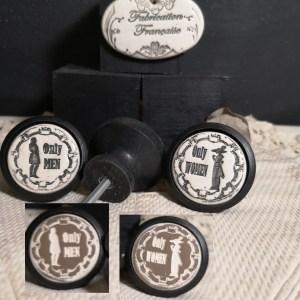 Bouton poignée meuble button handle tiroir porte artisanal original Only Men / Only Women couleur bois noir