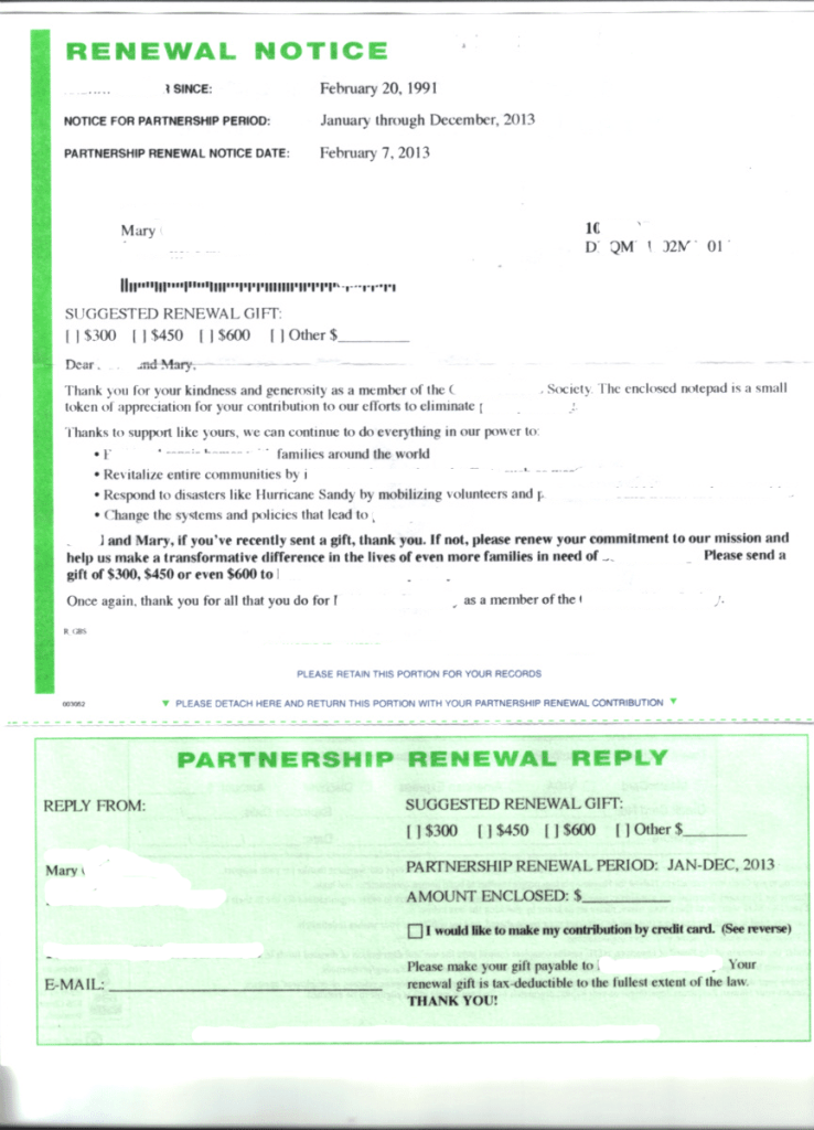 renewal notice