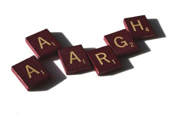 Scrabble letters spell aaargh