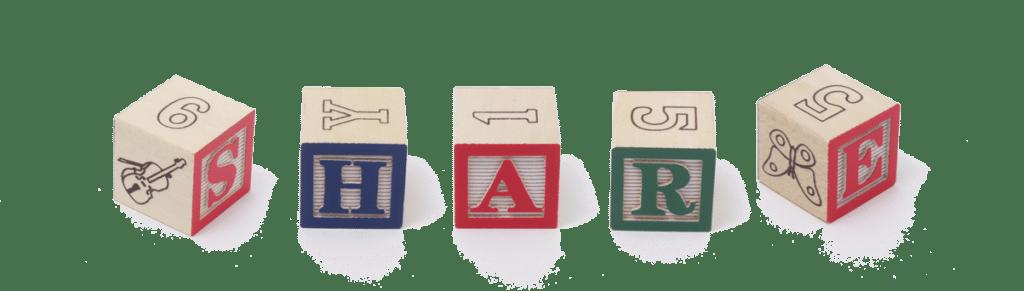 Share spelled in blocks