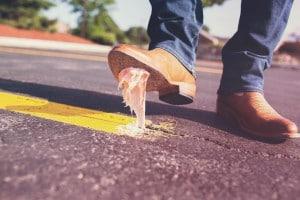 Stepping in gum